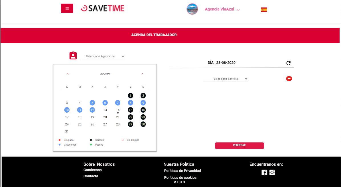 agendamento on-line da Agenda de Serviços, selecione o trabalhador com o serviço solicitado